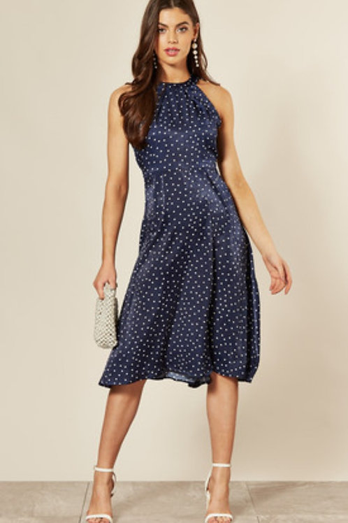 Navy Halterneck Polka Dot Dress