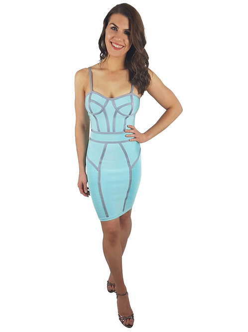 Baby Blue Bandage Dress with Ribbed Design
