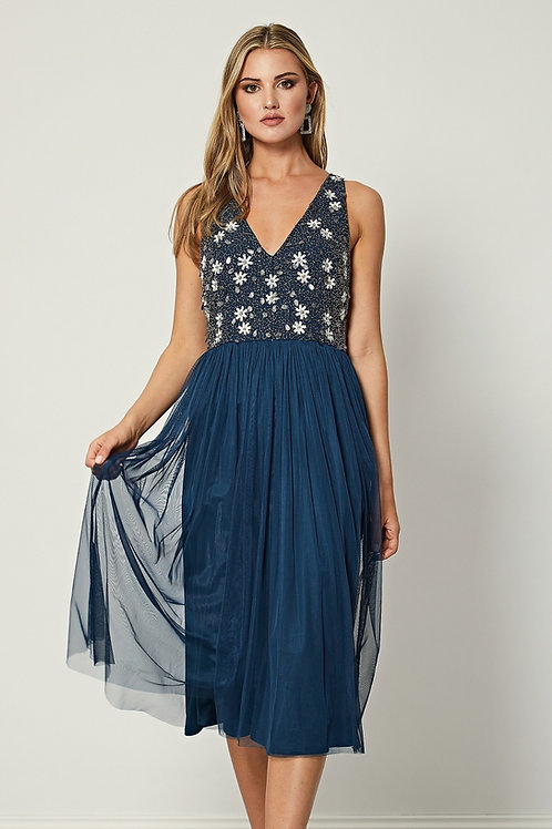 Navy dress with intricate beading