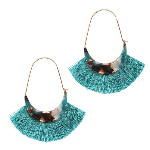 Teal Tortoiseshell Tassel Earrings