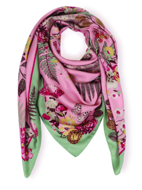 Satin Scarf with Floral & Hedgehog Detail