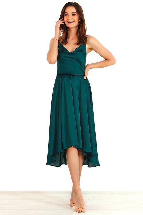 Green Satin Dip Hem Dress