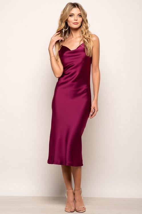 Magenta Satin Slip Dress