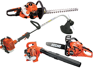 echo weed whips, trimmers, blowers, and chainsaws