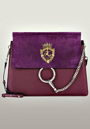 Orana Medium Leather Shoulder Bag Snake Purple
