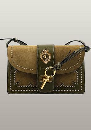 Patchwork Studs Leather Shoulder Bag Green