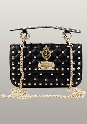 Studs Leather Shoulder Bag Black