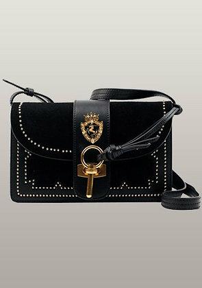 Patchwork Studs Leather Shoulder Bag Black