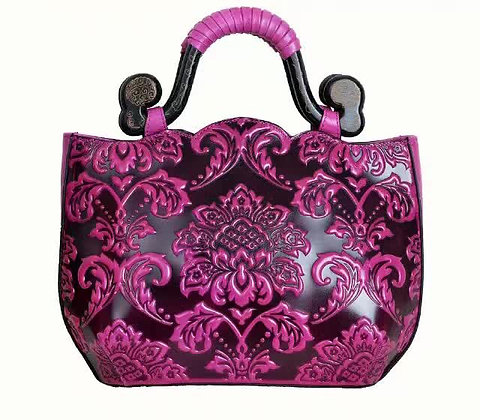 Damask Embossed Genuine Leather Bag