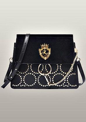 Amarie Medium Studded Suede And Leather Shoulder Bag
