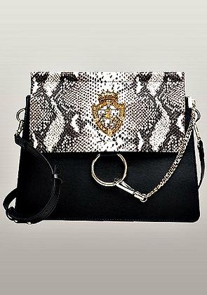 Orana Medium Leather Shoulder Bag Snake Black