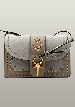 Patchwork Studs Leather Shoulder Bag