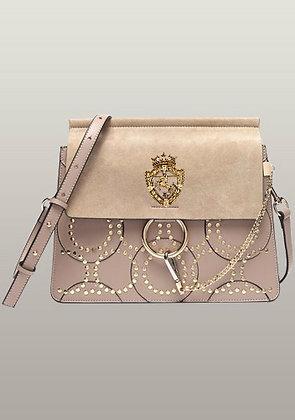 Amarie Medium Studded Suede And Leather Shoulder Bag Beige