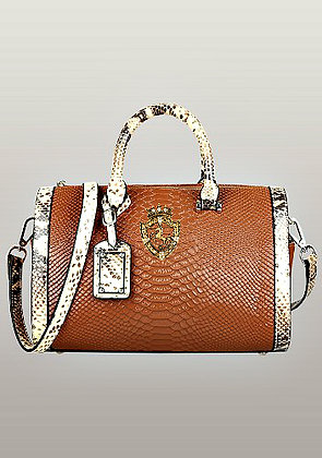 Viviane Leather Top Handle Bag Orange