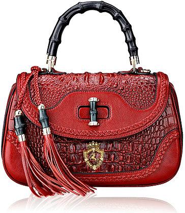 Bamboo Leather Handbag Red