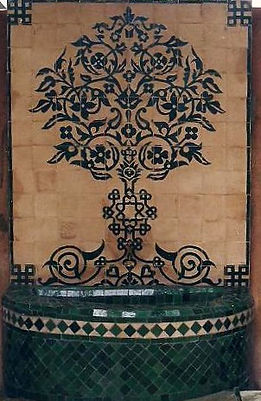 Moroccan foutain with chiselled tiles