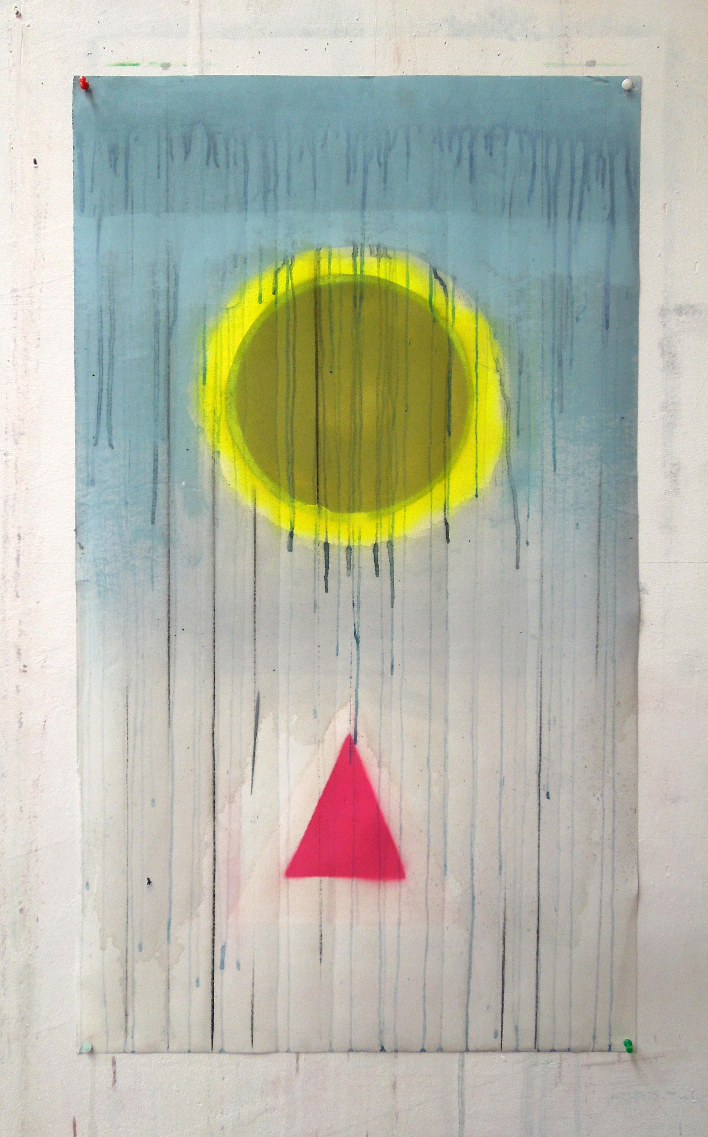 abovebelow(yellowandpink)2016mixedmediaonpaper100x58cm