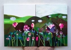 Flowers and mountains #2 (diptych) 120x8