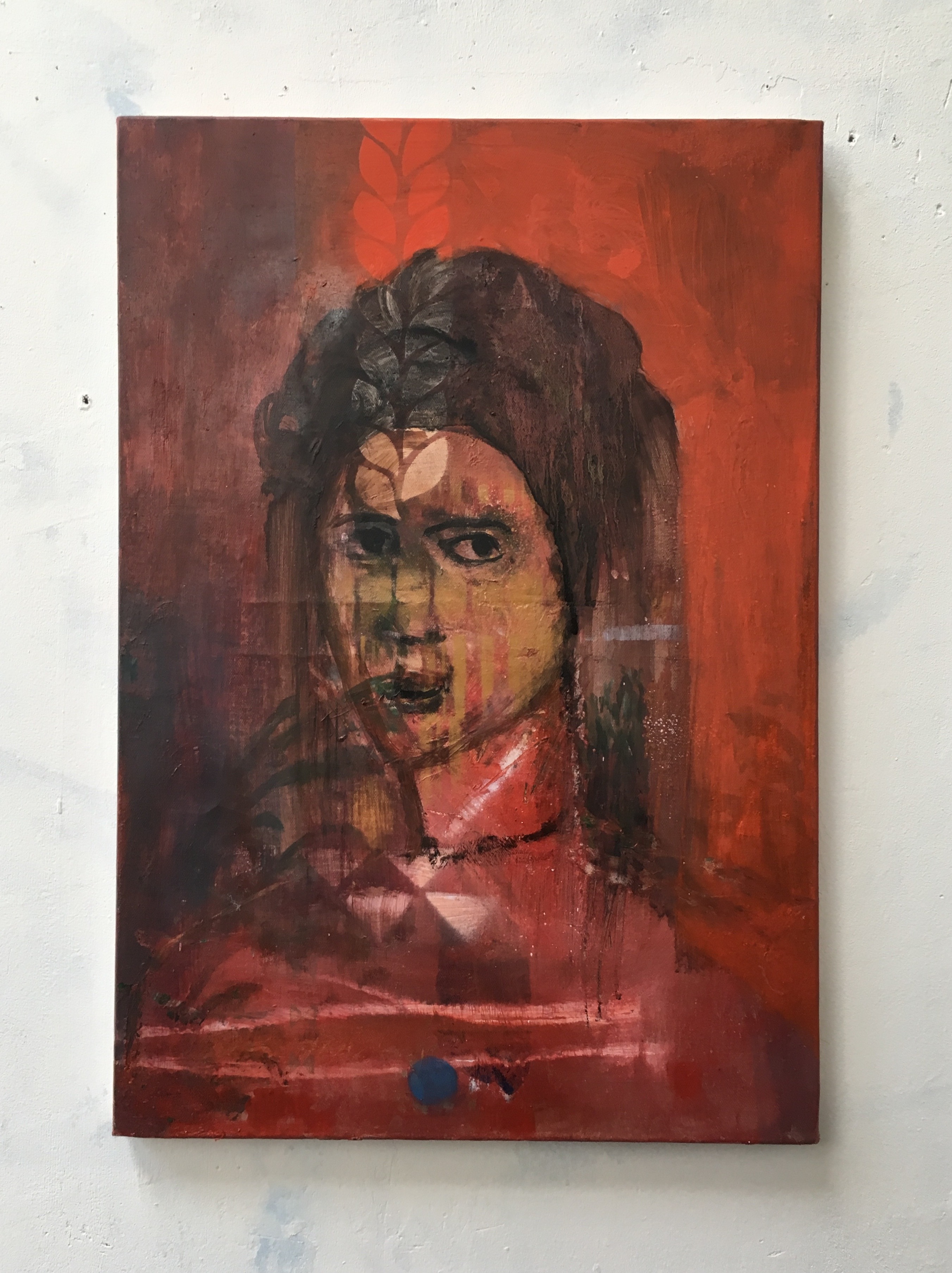 Revolution lady_2018_56x38cm_oil and spray paint on canvas