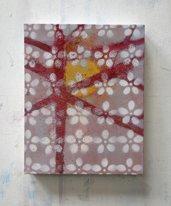Red tree with white flowers (30x24cm)