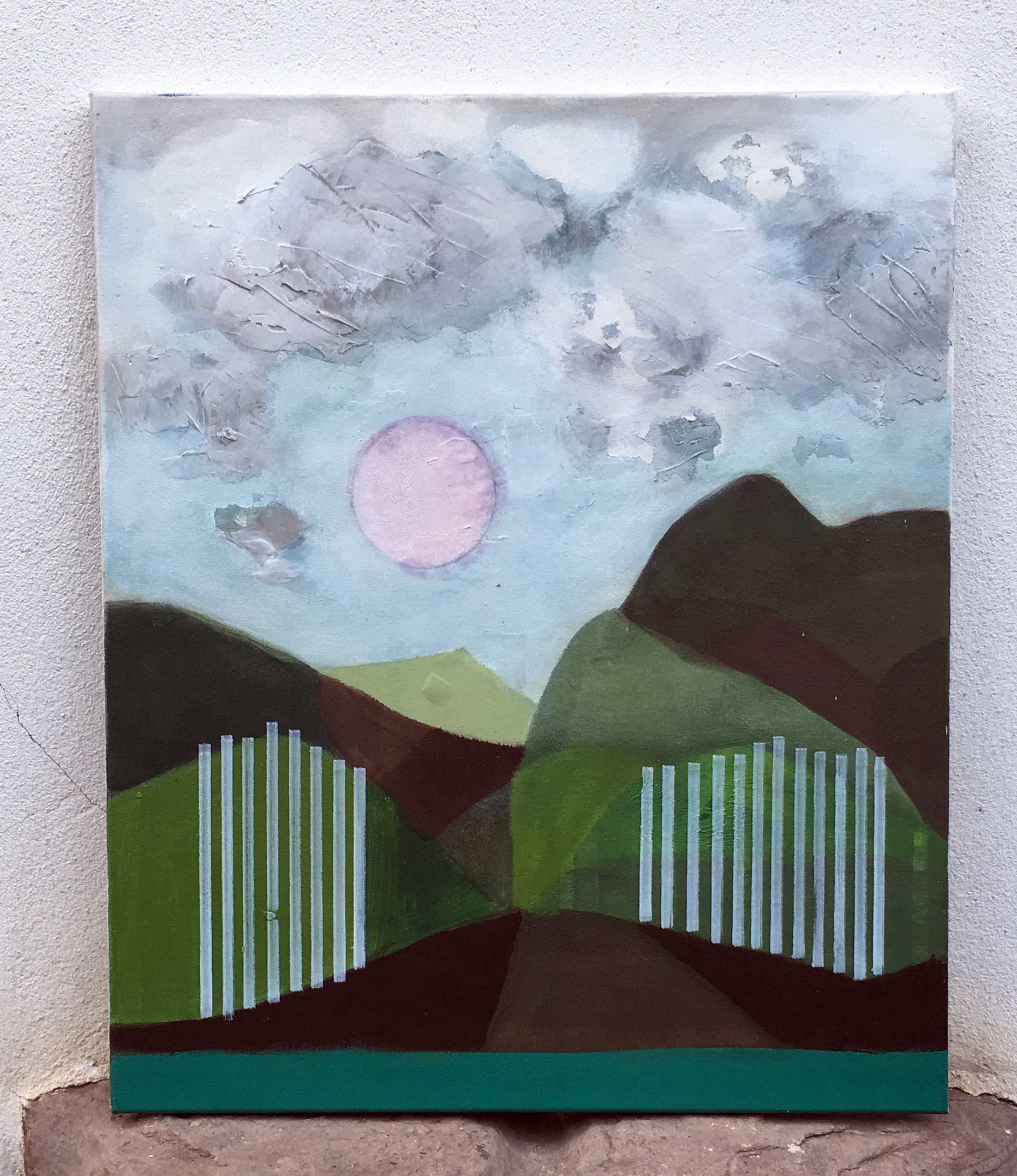 Pink moon (white gates) 60x50cm