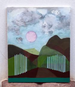 Pink moon (white gates) 60x50cm