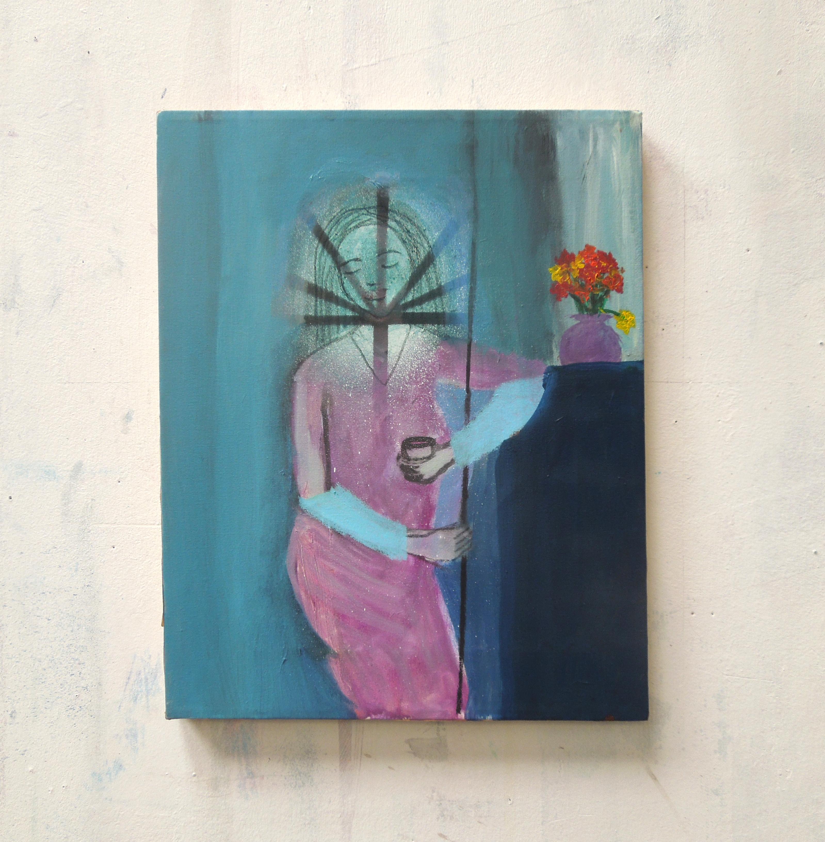 Lady with glass (36x28cm)