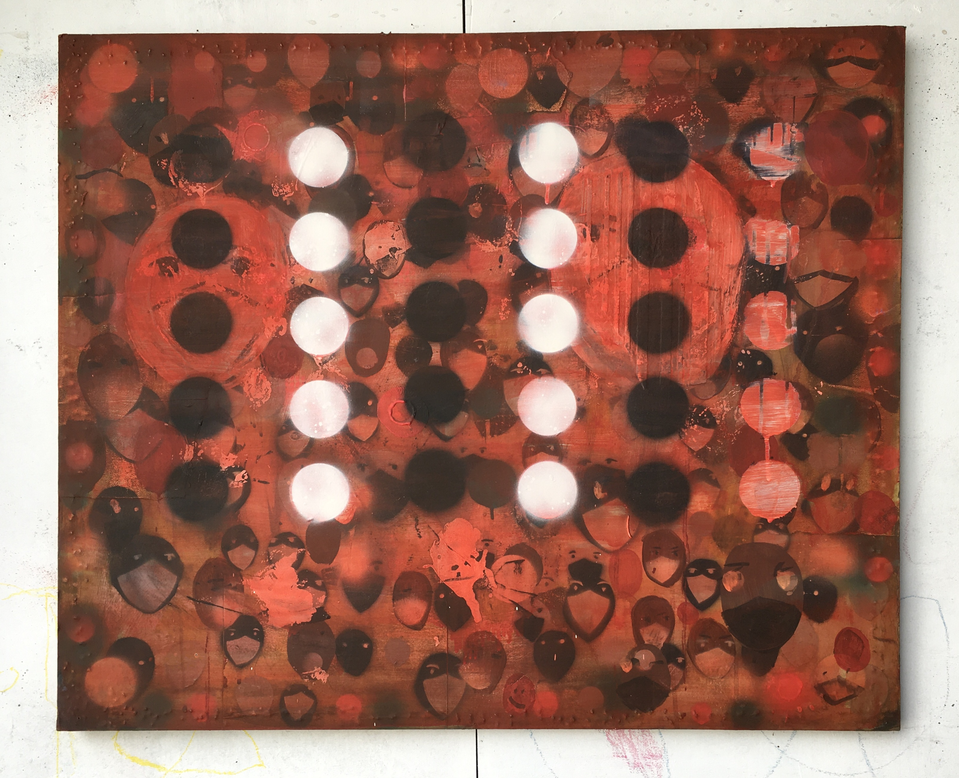 Untitled (Red masks) 2020 _ oil and spra