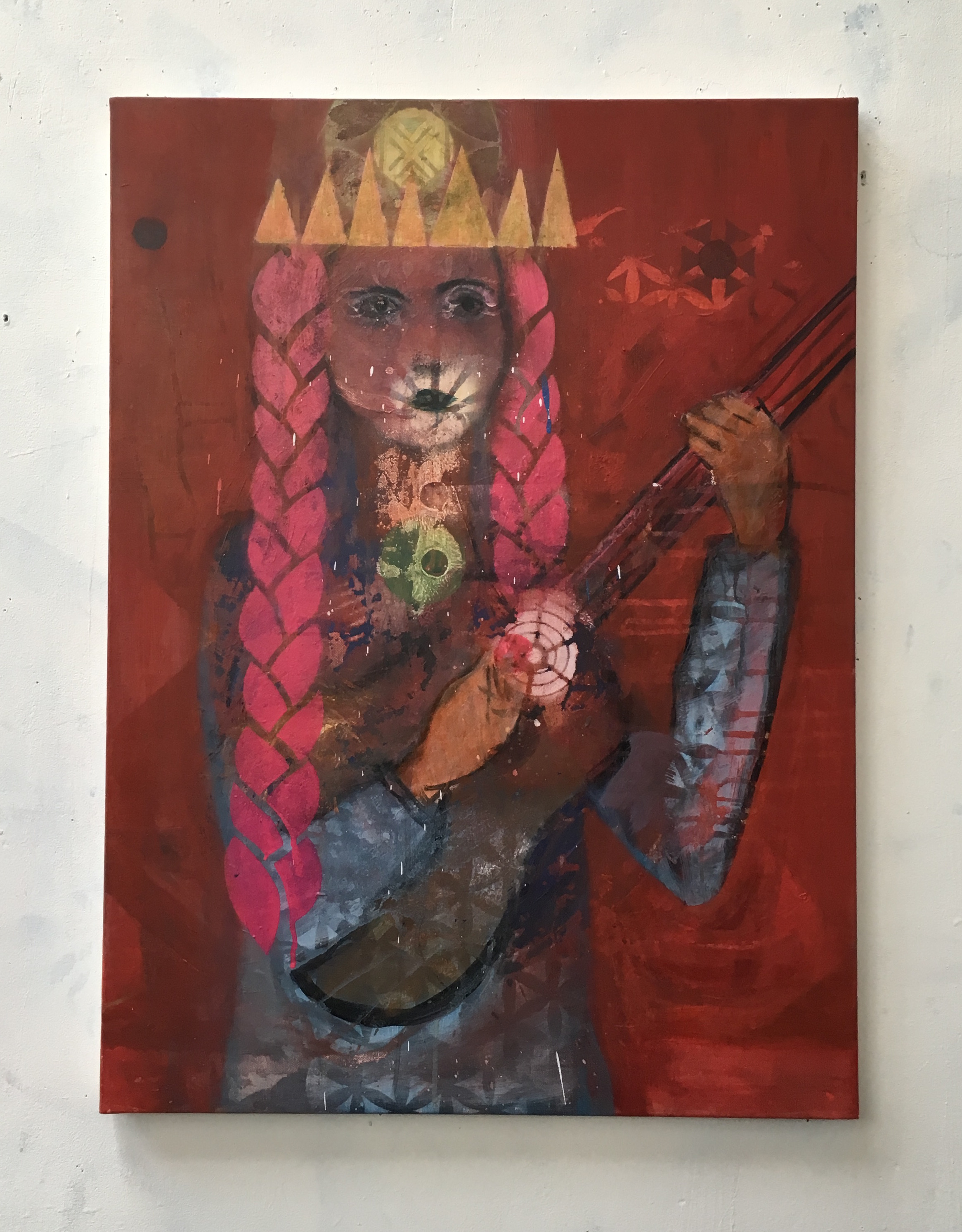 Lady cat with guitar_2018_73x54cm_oil and spray paint on canvas