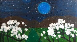 Full moon with white flowers 2020 Acryli