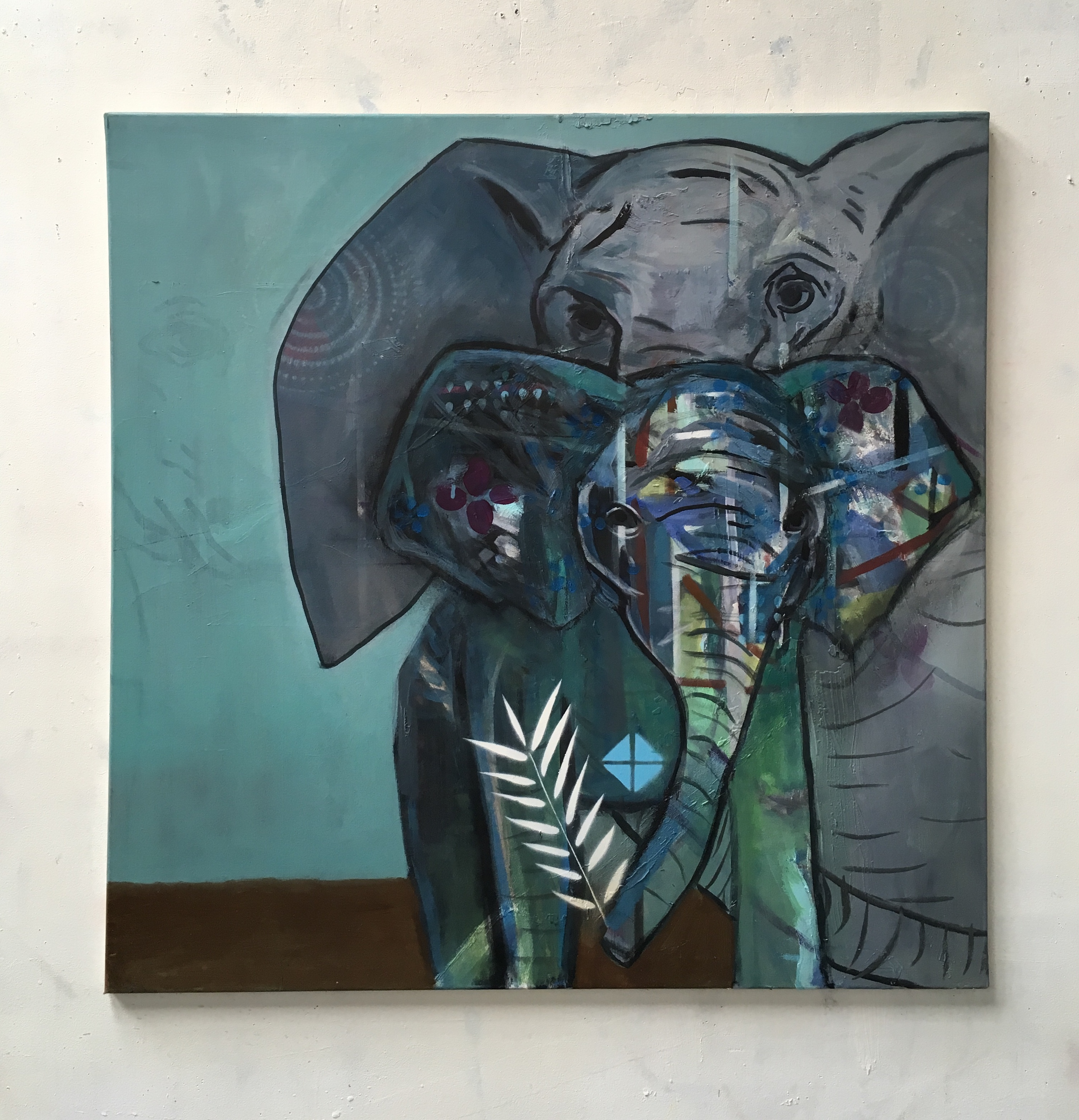 Elephant baby with mother_2018_100x100cm_oil and spray paint on canvas