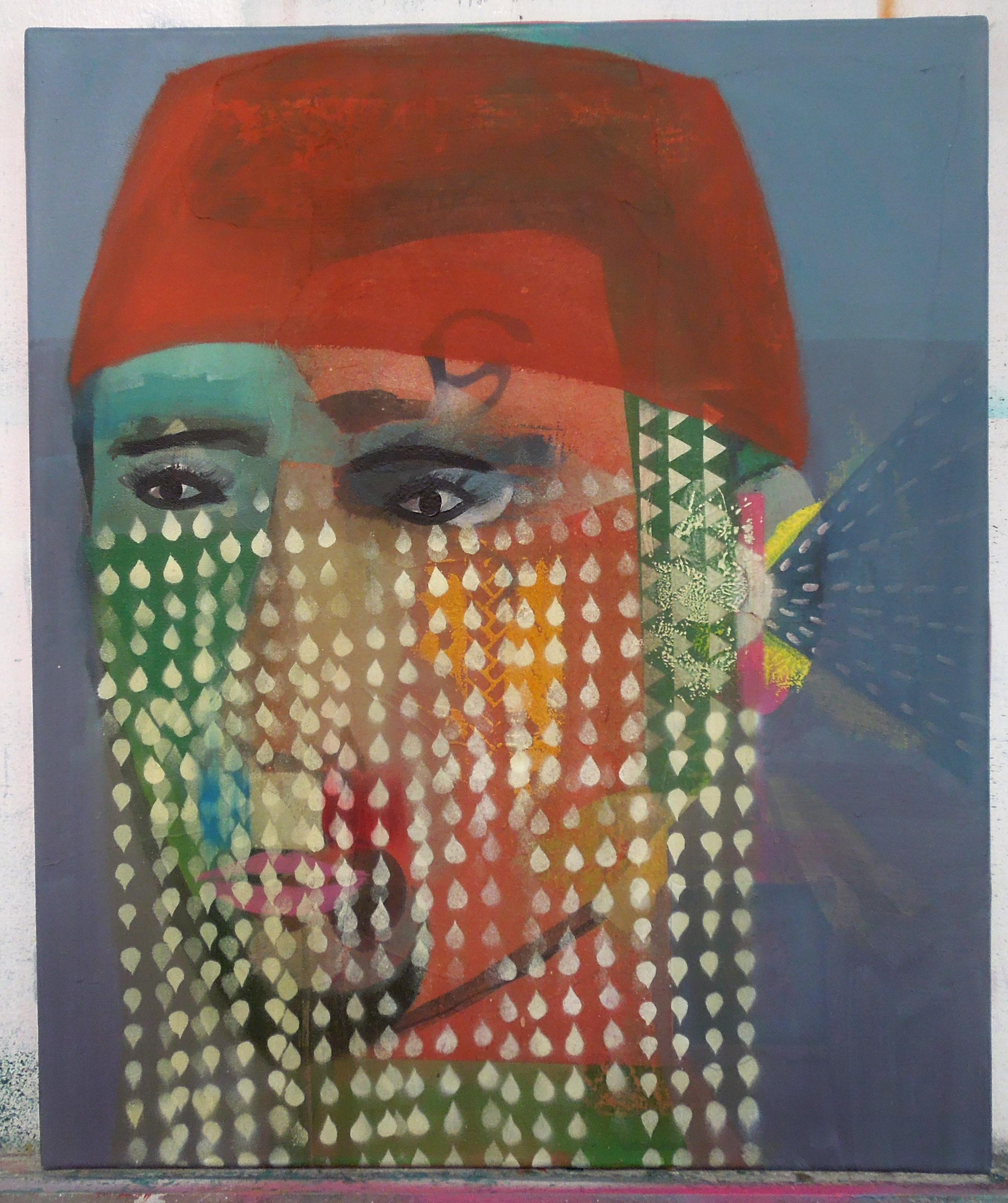 Portrait with flag mustache60x50cm