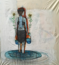 ladywithflowers(andwater138x124cm