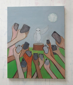 Owl press conference 92x73cm