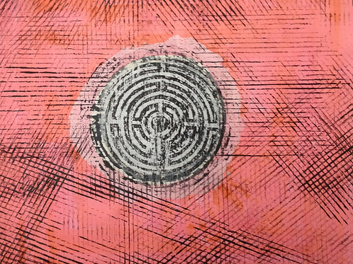 Labyrinth print (pink) 2010, 41x36cm (16x14in)