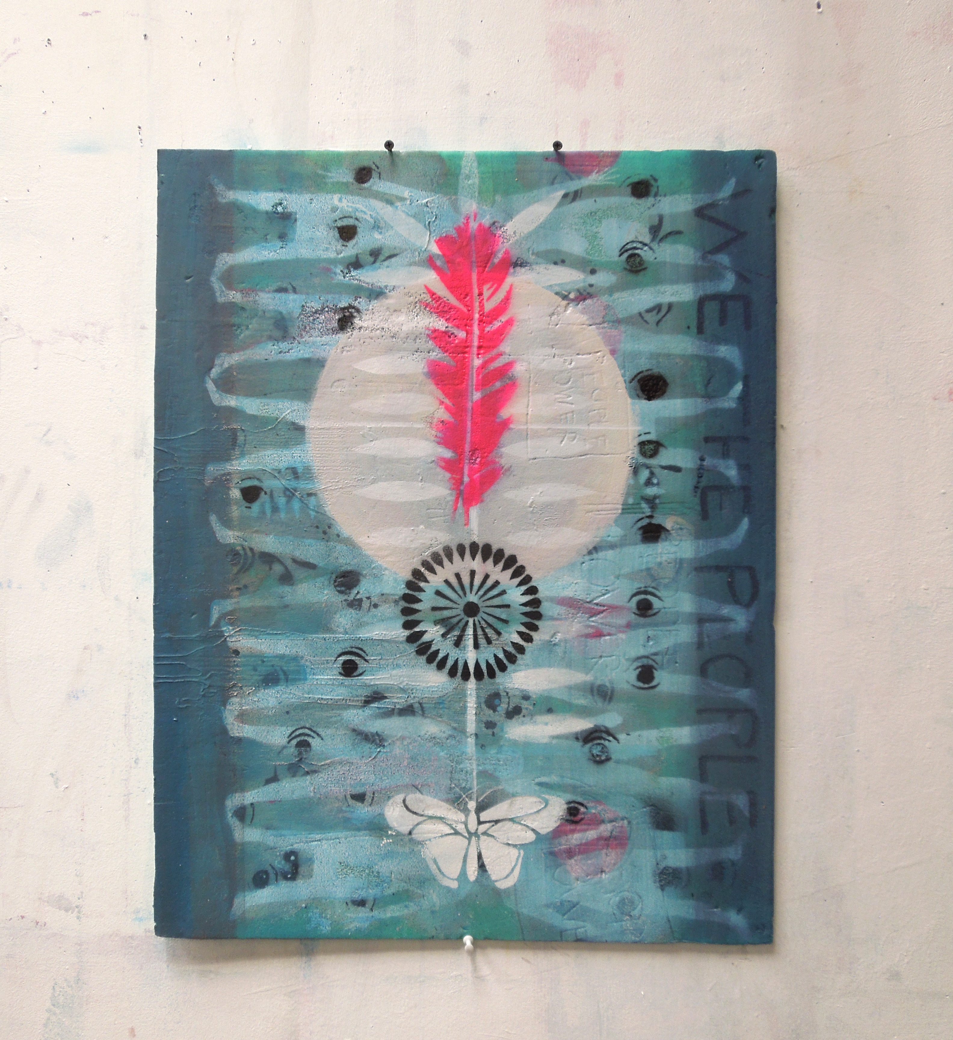 White butterfly, pink feather (62x49cm)