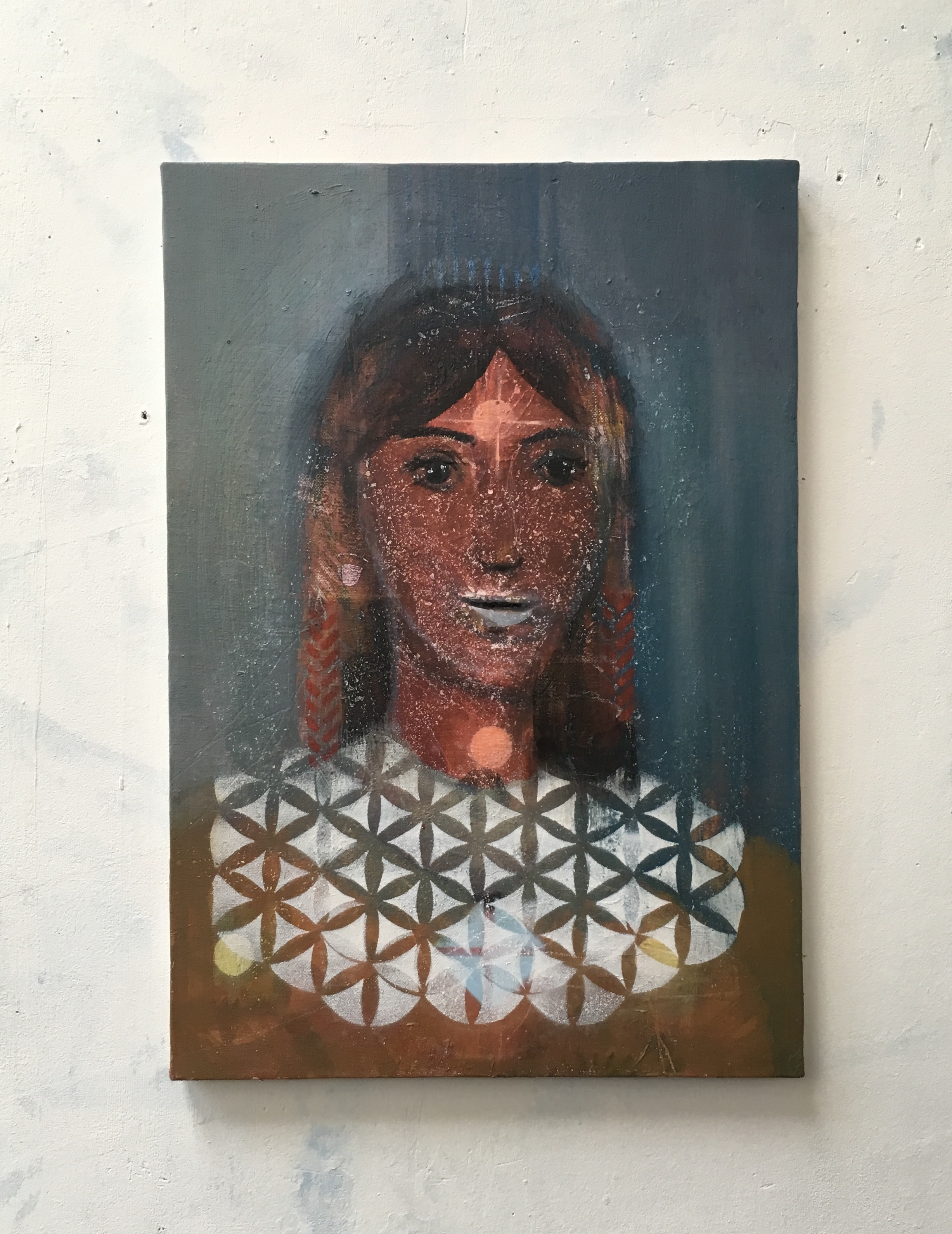 Joan of Arc_2018_55x38cm_Oil and spraypaint on canvas