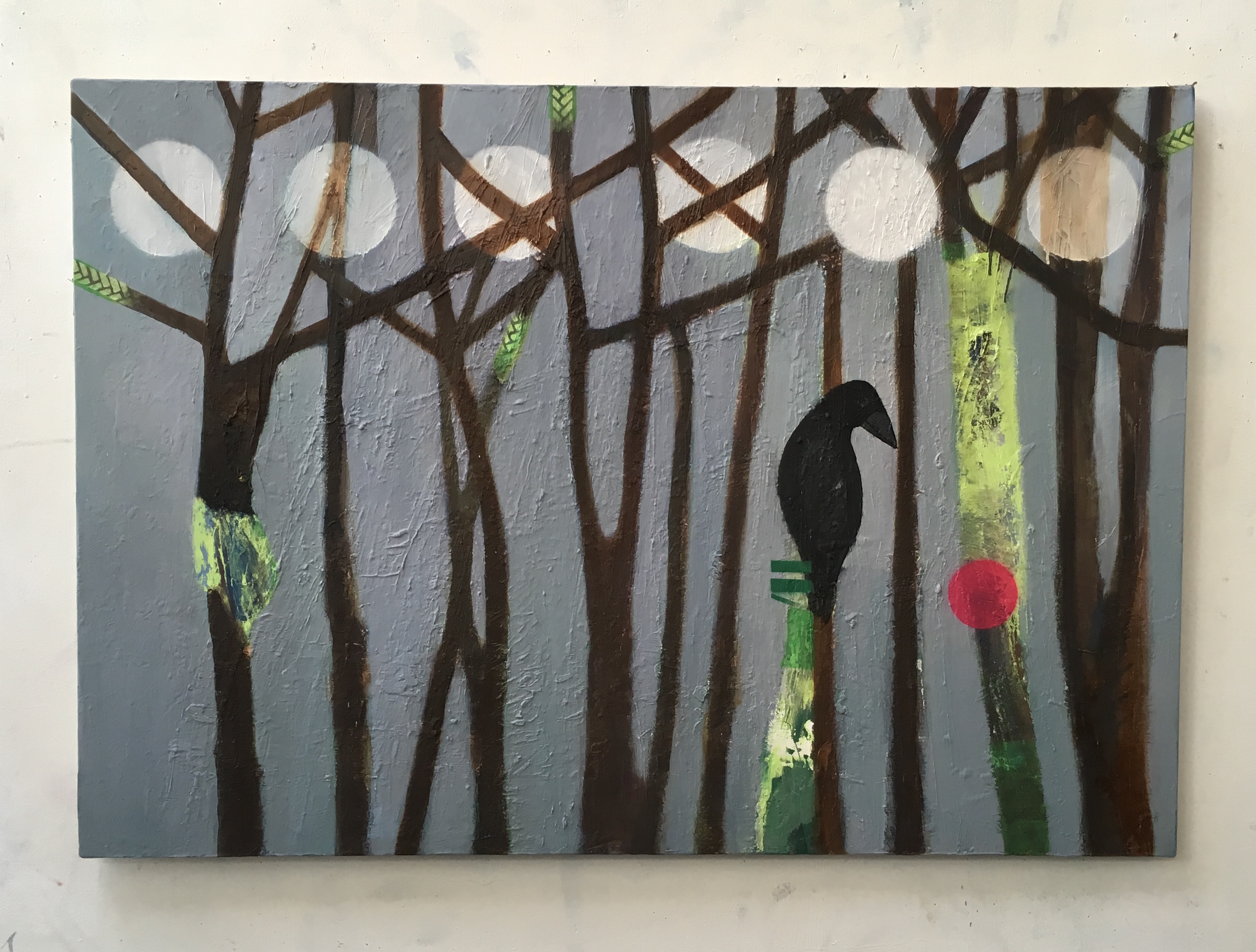Many moons and Crow_2017 _117x81cm_Oil on canvas