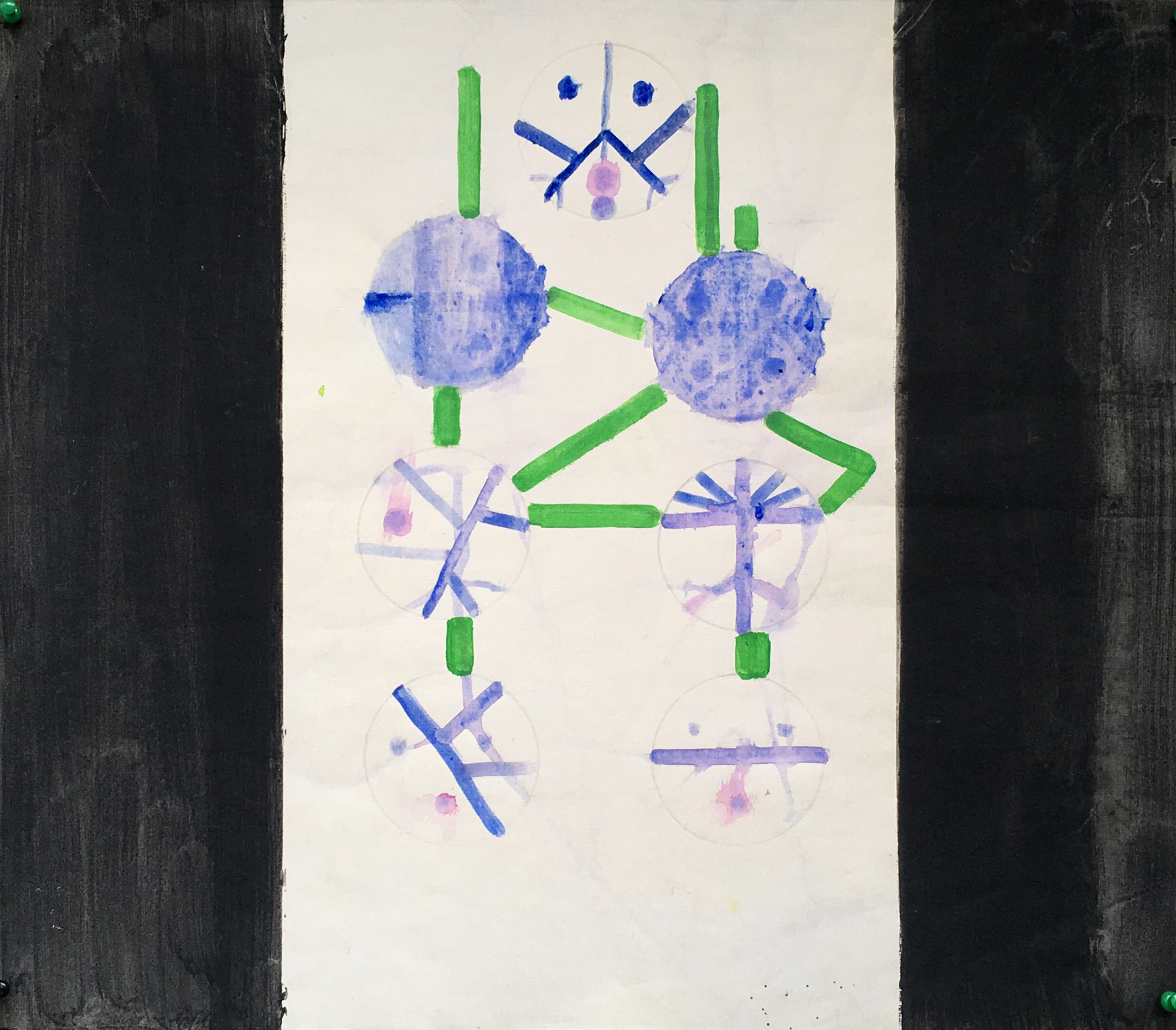 Untitled (bluegreen spheres)53x47cm