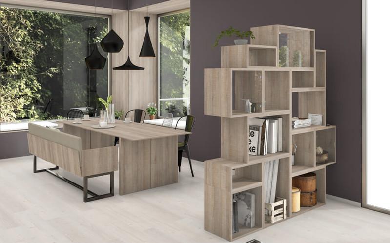 空間設計的NEW演繹x系統板+同色美耐板-餐桌餐椅子