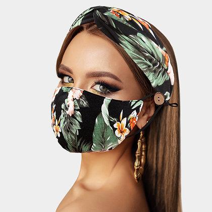 Print Cotton Fashion Mask Headband Set