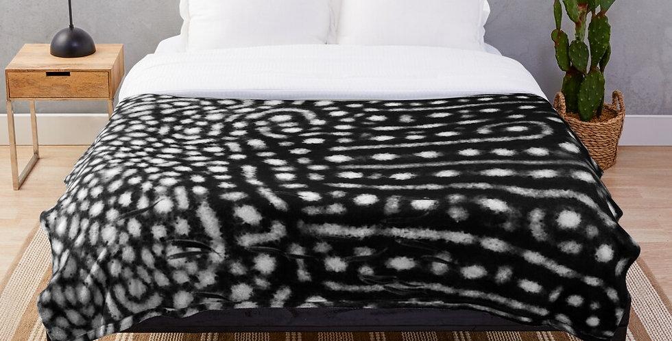 Black Whale Shark Spots Fleece Blanket
