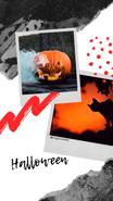 Relacja Insta Story na Instagramie. Maźnięcia pędzlem. Rysunki kolorowe. Dwa zdjęcia z polaroida. Na zdjęciu dynia wydrążona na Halloween, z otworów wylatuje dym. Na drugim zdjęciu czarny kot na tle nocnego nieba. Tekst: Halloween. @migatomedia