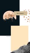 Relacja Insta Story na Instagramie. Na zdjęciu noc, księżyc w pełni, las. Plama z atramentu i farby akwarelowej. Tekst: Halloween! @Migatomedia