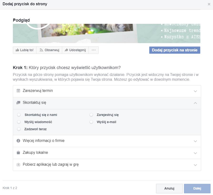 Zrzut ekranu, Facebooka.  Instrukcja, jak założyć własną stronę na Facebooku.