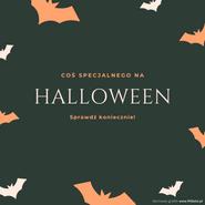 Grafika na Facebooka i Instagrama. Narysowane nietoperze. W środku napis: coś specjalnego na Halloween. Sprawdź koniecznie! Darmowe grafiki www.migato.pl.