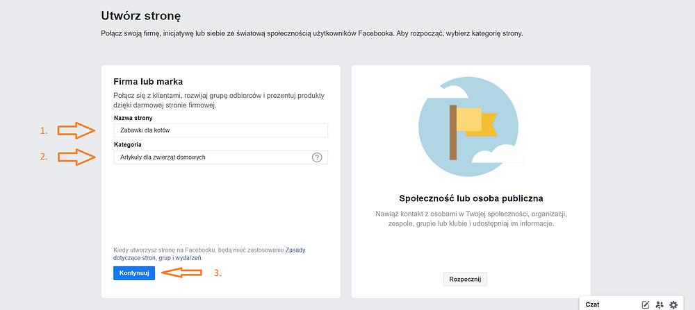 Zrzut ekranu, serwis Facebook. Tworzenie własnej strony, fanpage na Facebooku.