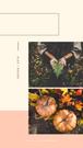 Grafika - relacja Insta Story na Instagramie. Geometryczne kształty i dwa zdjęcia przedstawiające ręce trzymające liść paproci oraz dwie dynie w jesiennej scenografii. Tekst: jesień 2019. Na zdjęciu w ramce o kształcie maźnięcia pędzlem zdjęcie przedstawiające ręce osoby trzymającej w dłoniach liść paproci. Tekst: Jesienne inspiracje. Na grafice utrzymanej w beżowych, jasnych, neutralnych kolorach, znajduje się wycięte zdjęcie przedstawiające rudowłosą kobietę w kurtce i szaliku , stojącą na tle łąki podczas jesieni. Tekst na grafice: Najlepsze Jesienne destynacje. Planujesz jesienny wyjazd? Przeczytaj koniecznie. Darmowe grafiki na www.migato.pl