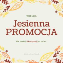 Na grafice rysunki przedstawiające liście w kolorach jesieni. W środku tekst, kolorowy: Wielka jesienna promocja. Nie czekaj! Skorzystaj już teraz! Darmowe grafiki na https://migato.pl
