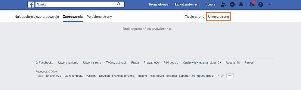 Zrzut ekranu. Na ekranie strona na Facebooku. Instrukcja, jak założyć stronę na Facebooku